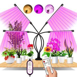 Lampe de Plante, EWEIMA 80 LEDs Lampe de Croissance à 360° Éclairage Horticole Avec, Lampe Pour Plante 4 Têtes Lampe Croissance Spectre Complet Avec Chronométrage AUTO – ON / OFF 4H / 8H / 12H