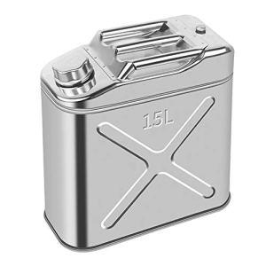 LHL-DD Bidons d'essence Anti-éclaboussures avec Bec, bidon d'essence en Acier Inoxydable pour Le Stockage de Carburant, Essence, Diesel, Huile 10L / 15L / 20L bidon d'essence de Rechange Robuste