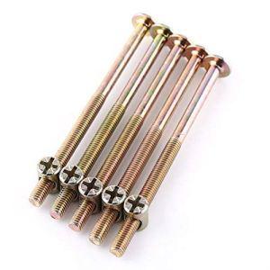 Lot de 10 boulons M6 pour meubles en acier carbone galvanisé avec écrous et chevilles 40 mm/60 mm/80 mm/90 mm/100 mm, TRTA000717