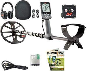 MINELAB Equinox 800 Détecteur de métaux étanche jusqu'à 3 m – Casque sans fil Bluetooth multi-fréquences – Cercle or