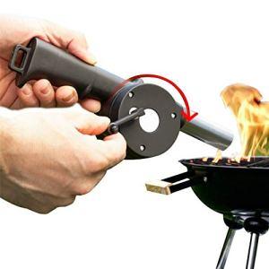 Mr. Castle Briquet de cheminée et feu Souffleur d'air pour barbecue. Accessoire soufflet manuel pour souffler avec pastilles de feux ou bois naturel.