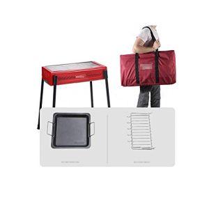 NAFE Barbecue portatif au Charbon de Bois en métal pour Barbecue extérieur, Ensemble de Fumage idéal pour Pique-Nique, Jardin, Camping et Autres utilisations (3-5 Personnes)-Red-BBQGrillPackage