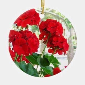 None-brands Ornement de Noël 2020 personnalisé en forme de géraniums rouges, décoration de Noël à suspendre, 7,6 cm en porcelaine
