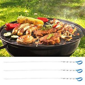 Omabeta 3pcs brochette de Barbecue Durable Anti-brûlure en Acier Inoxydable 100% Brond Nouveau pour Le dîner(Blue)