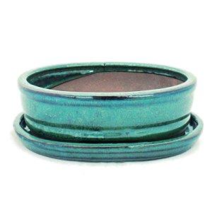 Pot à bonsaï avec soucoupe – Taille 2 – Vert – ovale – Modèle O7 – L 15,5 cm – l 12 cm – H 4,5 cm.