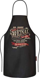 RAHMENLOS Rahmenlos Tablier de cuisine en coton Inscription en anglais «40th Birthday»