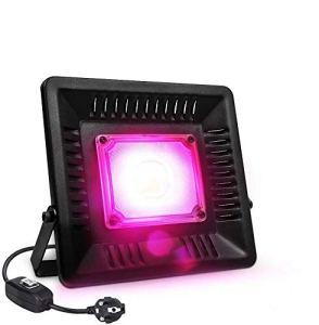Relassy Lampe de Plante COB LED Lampe Horticole 50W à Spectre Complet, IP67 Imperméable Lampe de Croissance pour Culture Hydroponique, Plantes d'intérieur et de Serre avec Fiche EU
