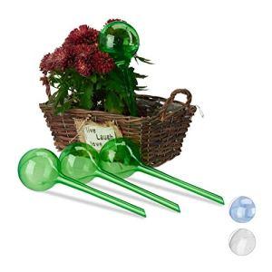 Relaxdays 10023226_53 Lot de 4 Boules d'arrosage Double semainier en Plastique Vert, PVC, 8 cm
