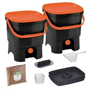 Skaza Bokashi Organko Set (2 x 16 L) Composteur 2X pour Jardin et Cuisine en Plastique Recyclé | Kit de démarrage avec Activateur de Fermentation Bokashi Organko 1 kg (Noir-Orange)
