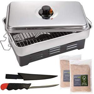 smartpeas Fumoir Viande et Poisson de Table avec thermometre – fumoire a Alimentaire à l'intérieur et à l'extérieur +2X copeaux de Bois et Couteau INOX
