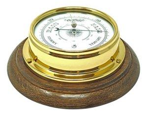 Tabic Baromètre Traditionnel en Laiton et Monture en chêne Anglais, étui en Laiton laqué épais (1/2 kg), Fait à la Main en Angleterre