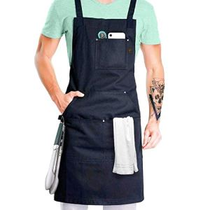 Tablier de chef professionnel pour cuisine, barbecue, barbecue et grill (noir) avec passant de serviette + poches à outils + boucle à dégagement rapide, réglable M à XXL – Tablier pour homme et femme