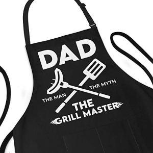 Tablier drôle pour homme Papa The Man The Myth The Grill Master réglable Taille L 1 Taille réglable en poly/coton avec 2 poches Tablier de barbecue pour père, mari, chef