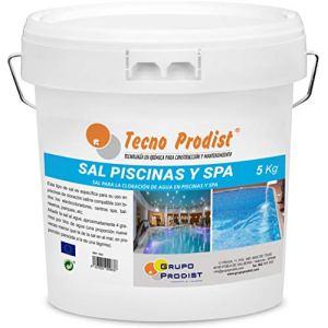 Tecno Prodist Sel Piscines Sel spécial pour la chloration Saline de piscines, Spa ou Jacuzzis – en Seau de 5 kg Facile à appliquer