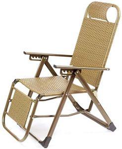 Vallage Lounge Chaise Chaise longue Chaise Lounge Chair d'après-midi Lit Lazy Beach Chair à la maison Terrasse Meubles avec Mandrail 6 Chaise portable multifonction,Gold