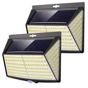 vighep Lampe Solaire Extérieur, 228 LED [ 2 Packs] Lumiere Solaire Exterieur Detecteur de Mouvement LED éclairage Solaire Extérieur étanche sans Fil Spot Solaire Lumière Puissant Sécurité pour Jardin