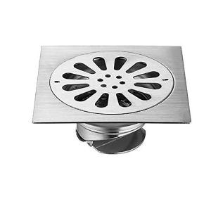 Voixy Siphon de Sol Grille Drainage pour Salle de Bain Cuisine Balcon en Acier Inoxydable 304 15×15 Motif Valve