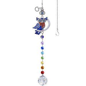 YU FENG Attrape-soleil bleu turc en forme de hibou avec perles chakra et prisme arc-en-ciel
