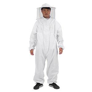Zerodis Apicole Costume Équipement de Protection Professionnel Anti Abeille avec Capuchon en Voile Protection Totale pour Apiculture Apiculteur – Blanc L XL XXL(XXL)