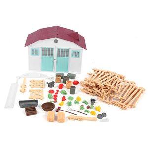 11,4 x 7,5 Pouces Ensemble de Jouets de Ferme, Figurines d'animaux de Ferme décoratives éducatives, Cadeaux d'anniversaire Bricolage Jouets Cadeaux de Noël pour Les(House Set (Brown Fence))