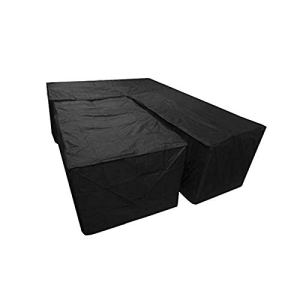 2 pièces de mobilier de jardin housse en forme de L Housse de protection anti-poussière Housse de salon étanche Housse de protection Capot Bâche noire