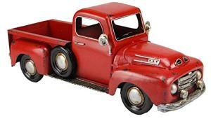 Antique galvanisé en métal Rouge Farm Truck Pot de fleurs–Rouge Camion Décoration Fall de Noël
