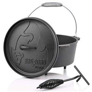 BBQ-Toro Dutch Oven Série Alpha | déjà brûlé | Différentes Tailles | Marmite en Fonte | Rôtissoire avec lève-Couvercle (DO45A – 3,1 litres, Pot avec des Pieds)