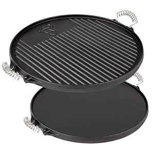 BBQ-TORO Plaque à grillades ronde réversible – En fonte – Diamètre de 43 cm – Déjà culottée – Prête à l'emploi- pour cheminée barbecue