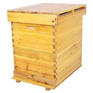 Boîte de ruche, Kit complet ruche d'abeilles Kit de boîte d'apiculture de 10 cadres Kit de boîte de ruche en bois de cèdre Outils apicoles, Facile à assembler