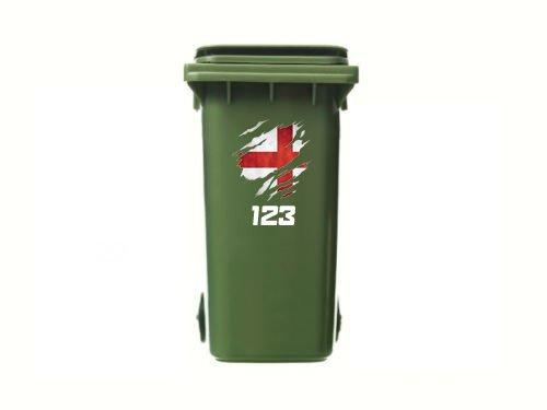Bullshirt Lot de 3 autocollants personnalisés en vinyle pour poubelle Motif drapeau de l'Angleterre déchiré
