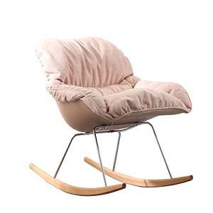 BUSUANZ Fauteuil à bascule de loisir, design ergonomique, chaise de relaxation simple, chaise longue pliante, en métal, pour extérieur, terrasse, jardin, rose
