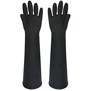 Buwico® 60CM Lengthened Latex Industrial Gloves Acid Wear Thick Long Black Rubber Gloves (1 Pair) by Buwico