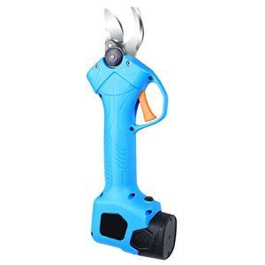 Cisailles de taille électrique sans fil de poche, 2 batteries de 2000 mah rechargeable powered arbre de branche de branche, de 25 mm de diamètre de coupe avec lubrif blue