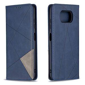 Coque pour Xiaomi Poco X3 NFC Antichoc étui Rabat Cuir Case Portefeuille TPU Gel Bumper Silicone Wallet Cover Aimant Housse pour Xiaomi Poco X3 NFC – ZIBF090765 Bleu