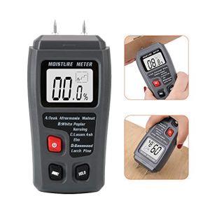 CuiGuoPing Testeur d'humidité du bois – Affichage numérique LCD – Type avec deux pointes – 0-99,9 % – Gris