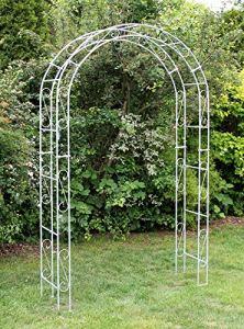 DanDiBo Arche à rosiers galvanisée, largeur 140 cm, arche ronde galvanisée à chaud, résistante aux intempéries, support pour plantes grimpantes