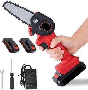 Débroussailleuses Mini sans fil Scie à chaîne électrique 4 pouces Scie à main portable avec batterie rechargeable Direction bois Cutter outil de jardinage JFYCUICAN ( Color : Rouge , Size : Libre )