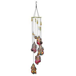Delisouls Carillon éolien décoratif pour extérieur, pièce en métal, carillon à vent imprimé coloré avec différents motifs Fengshui bénédiction Décor pour fenêtre extérieure jardin