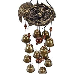 Delisouls Carillon éolien en résine avec 12 cloches éoliennes en bronze à suspendre style rétro pour fenêtre et jardin