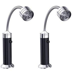 DFSDG 2pcs Portable Magnétique 360 degrés Réglable LED Grill Lampe d'éclairage pour Barbecue Barbecue Barbecue Outils de Grillage extérieur (Color : Black)