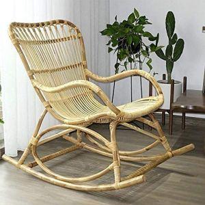 Engpai Fauteuil à bascule en rotin véritable pour balcon, loisirs, maison, jardin, fauteuil à bascule en 3 pièces avec dossier