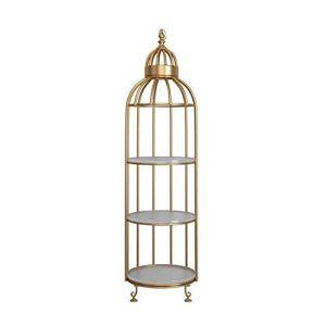 Exquis Jardinière 3 Couches de Jardin en métal Usine Support Stable Forme en Acier de Base Bird Cage, Parfait for la Famille, Jardin, Terrasse Fort (Color : Golden, Size : 32 * 32 * 136cm)