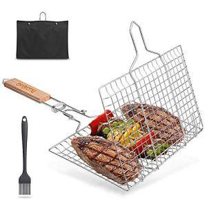 FINEW Pliable Panier Grille pour Barbecue Portable en Acier Inoxydable 304, pour Poisson Légumes Steak de Crevettes, avec poignée Amovible, Brosse à badigeonner Bouteille et Sac de Rangement