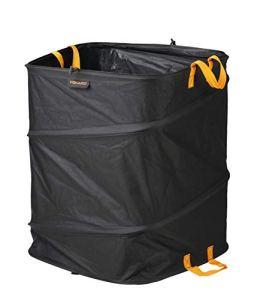 Fiskars Grand Sac à végétaux pop-up avec poignées, Peu encombrant et pliable, Capacité : 219 l, Hauteur : 70 cm, Largeur : 56 cm, Noir/Orange, Ergo, 1028373