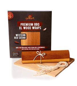 Grillart® Premium BBQ Wood Wraps – Lot de 12 XL Papier Barbecue – Bois de cèdre pour griller – Papier encens en bois de cèdre pour un goût particulier du barbecue