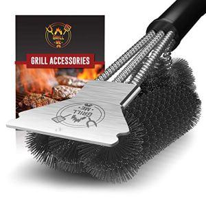 Grillme Brosse de barbecue avec sac en nylon et raclette attachée, robuste et durable avec poils en acier inoxydable triple puissance
