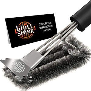 GrillSpark Brosse de Nettoyage pour Barbecue et grattoir 45,7 cm | Poils de Fil en Acier Inoxydable | Brosse de Nettoyage pour grilles à gaz/Charbon de Bois Weber