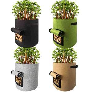 Hbche 4 pièces 7 Gallon Boîtes de jardin, facile à récolter Planteur Pot avec rabat et poignées, plantation de jardin for les sacs de culture de pommes de terre tomates et autres légumes, pommes de te
