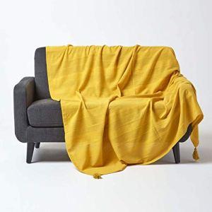 HOMESCAPES Jeté de lit ou Jeté de canapé Jaune Mandarine 150x200cm – Collection Rajput 100% Coton