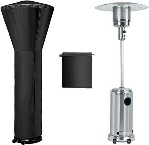 Housse de chauffage de terrasse imperméable avec fermeture éclair, coupe-vent, ronde, 220,3 cm H x 89,9 cm P x 48,3 cm Noir